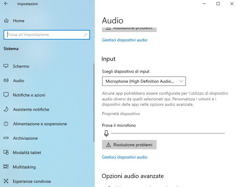Disabilita il microfono da Proprietà dispositivo in Windows 10