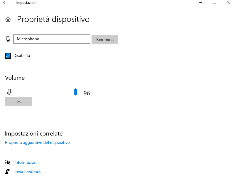 Casella di controllo per disabilitare il microfono di Windows 10