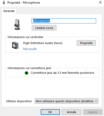 Proprietà del microfono in Windows 10